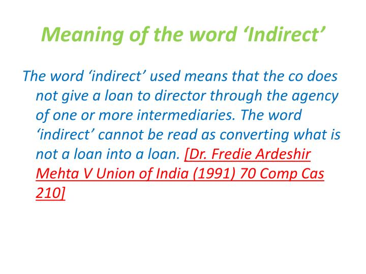 Meaning of the word 'Indirect'