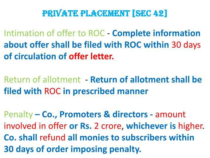 Private placement [Sec 42]