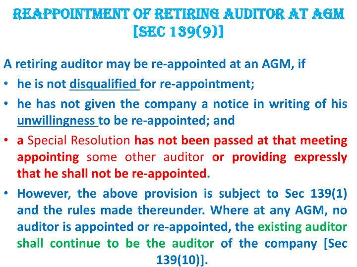Reappointment of retiring auditor at AGM [Sec 139(9)]