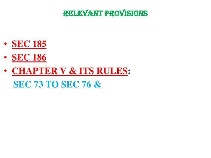 Relevant provisions