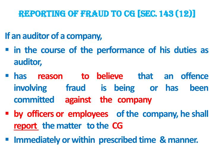 REPORTING OF FRAUD TO CG