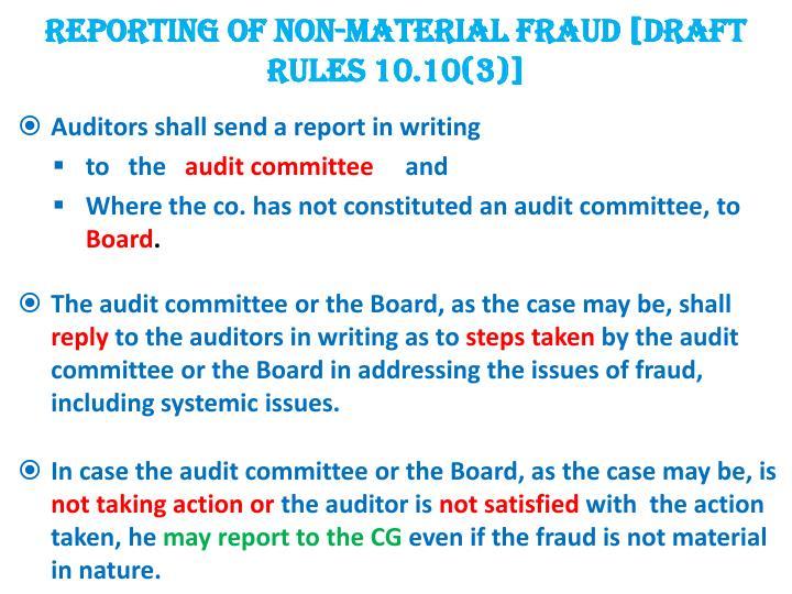 REPORTING OF NON-MATERIAL FRAUD