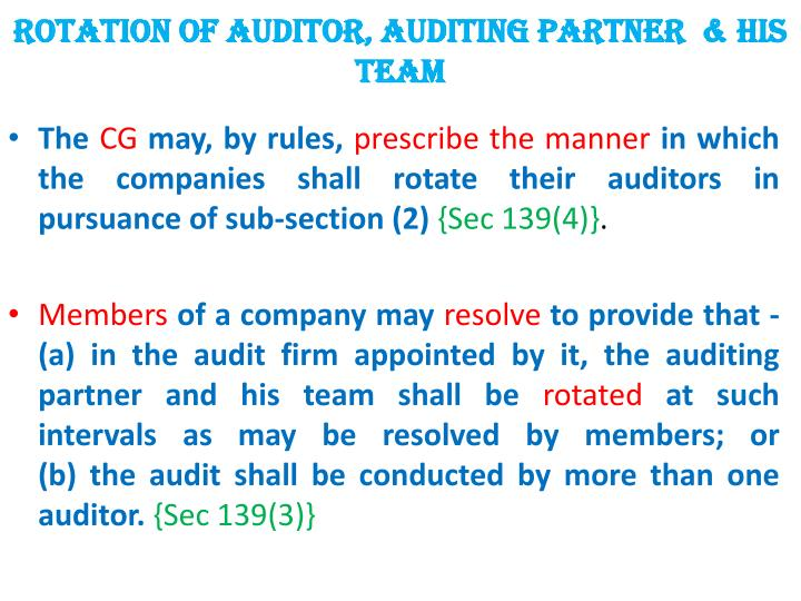 ROTATION OF auditor, AUDITING PARTNER  & HIS TEAM