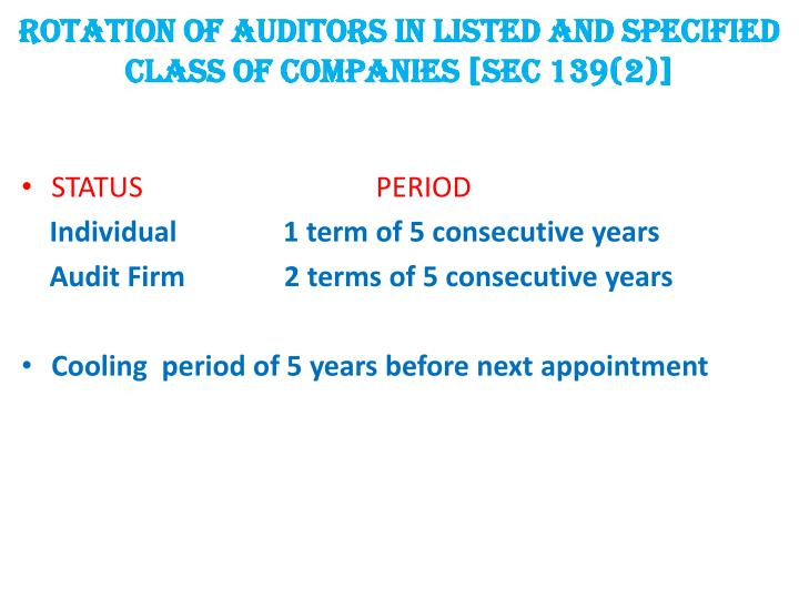 ROTATION OF AUDITORS IN LISTED AND SPECIFIED CLASS OF COMPANIES [SEC 139(2)]