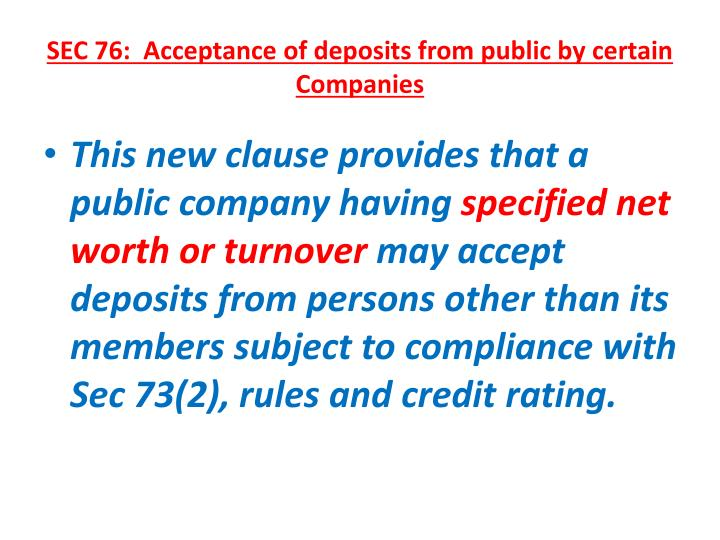 SEC 76:  Acceptance of deposits from public by certain Companies