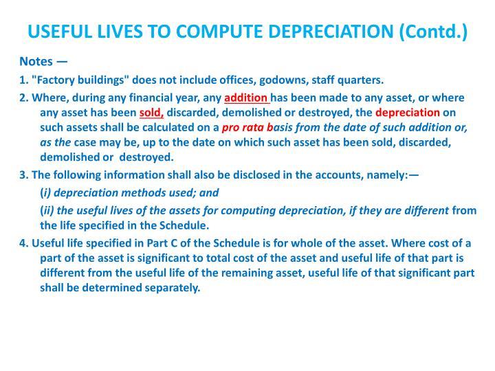 USEFUL LIVES TO COMPUTE DEPRECIATION (Contd.)