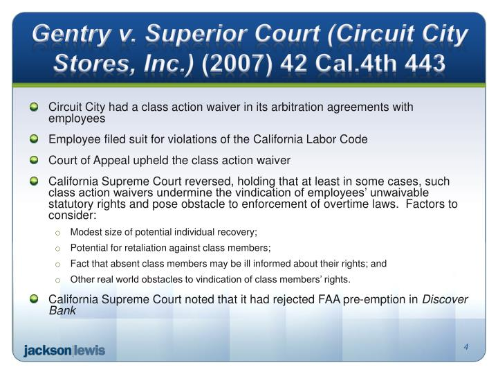 Gentry v. Superior Court (Circuit City Stores, Inc.)