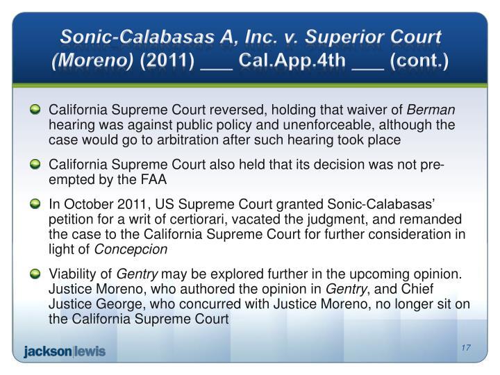 Sonic-Calabasas A, Inc. v. Superior Court (Moreno)