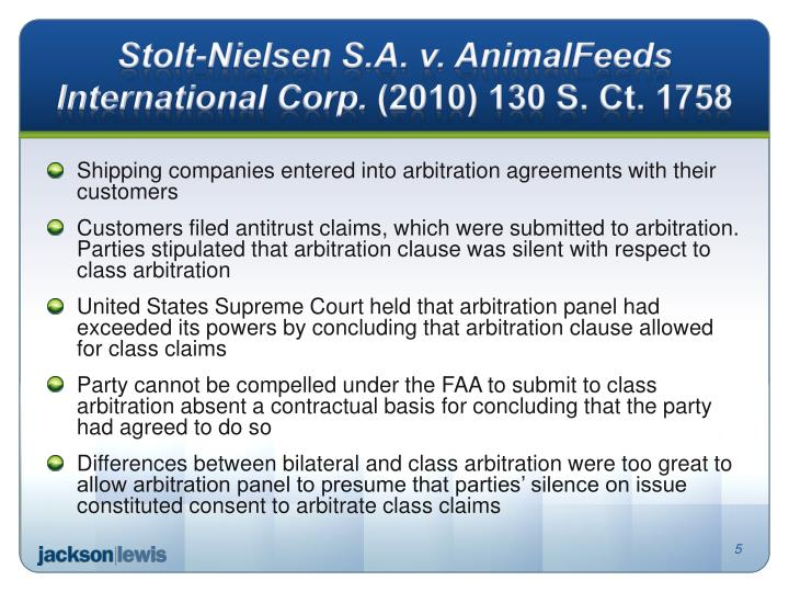 Stolt-Nielsen S.A. v. AnimalFeeds International Corp.