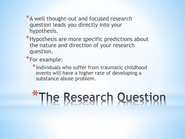 A well thought-out and focused research question leads you directly into your hypothesis.