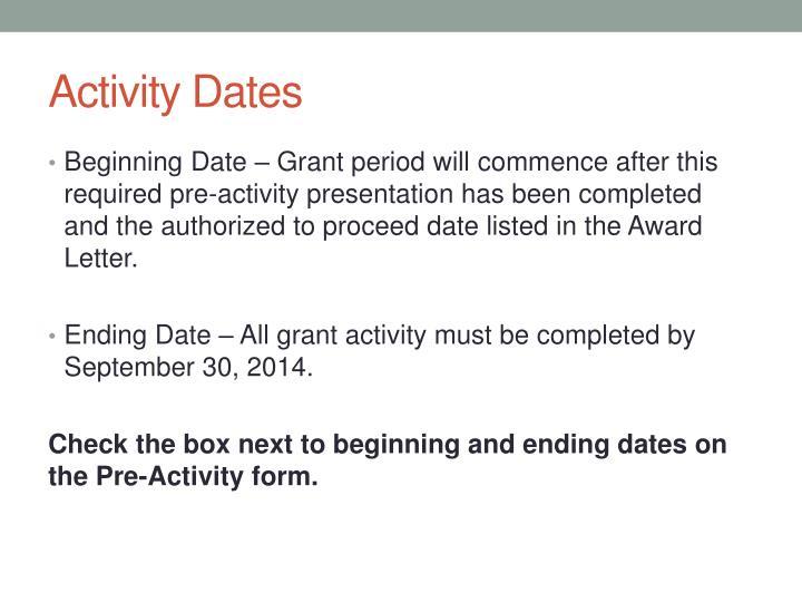 Activity Dates