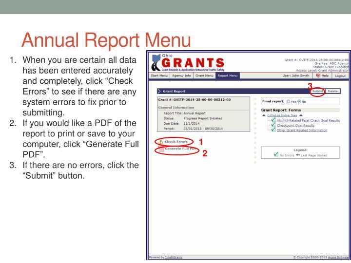Annual Report Menu