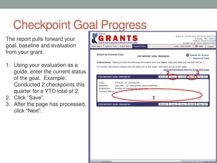 Checkpoint Goal Progress
