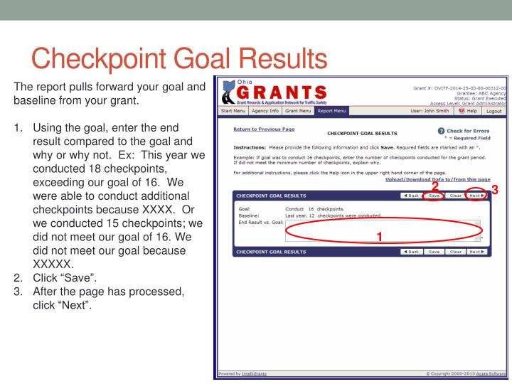 Checkpoint Goal Results