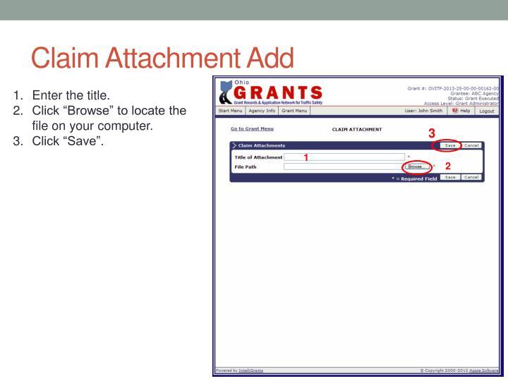 Claim Attachment Add