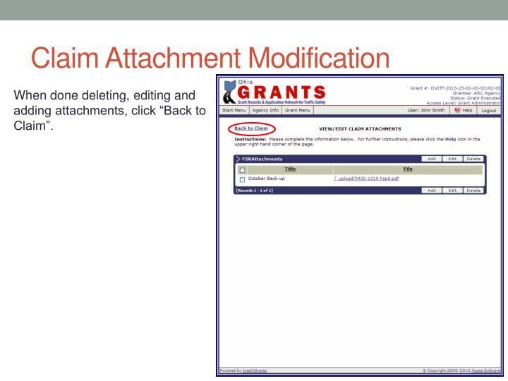 Claim Attachment Modification