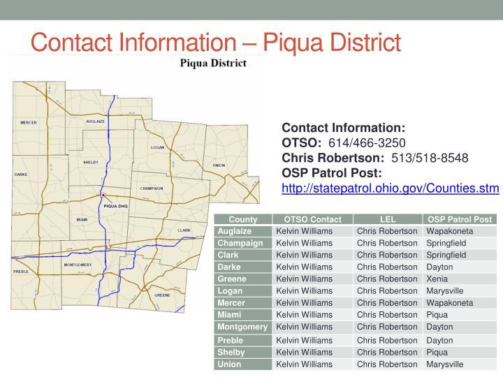 Contact Information – Piqua District