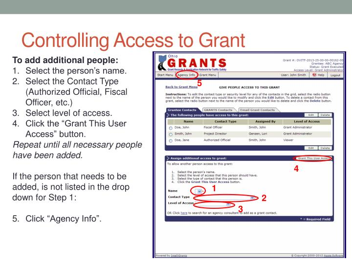 Controlling Access to Grant