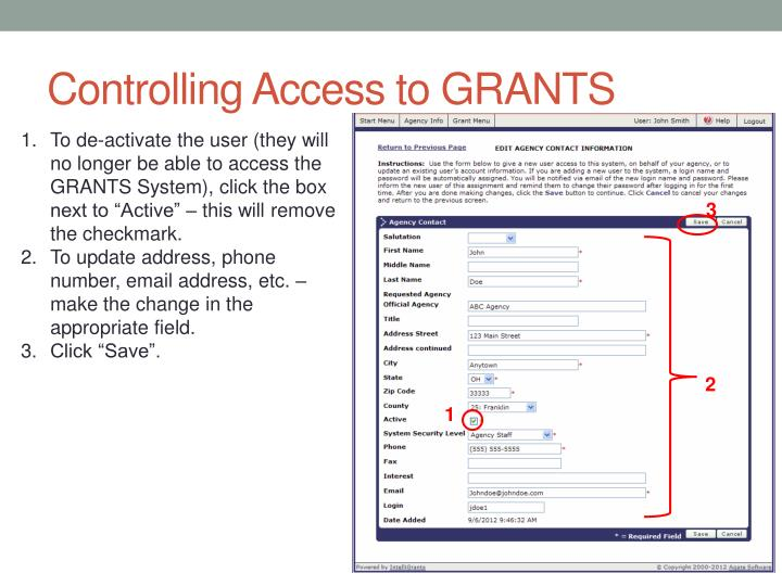 Controlling Access to GRANTS