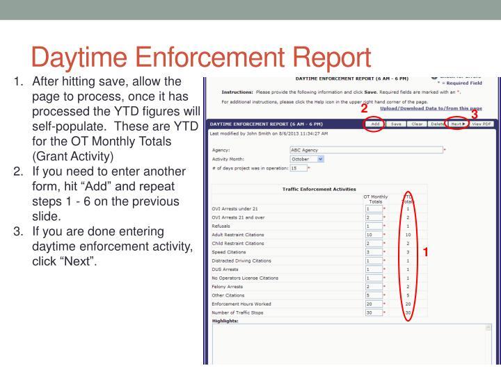 Daytime Enforcement Report