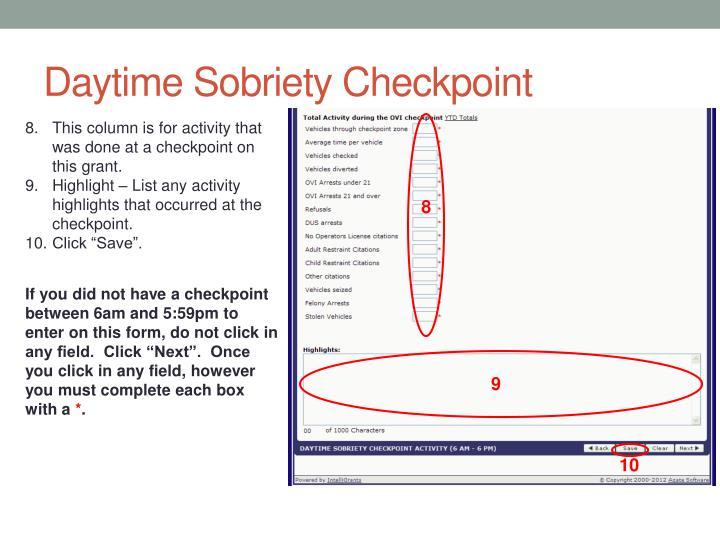 Daytime Sobriety Checkpoint