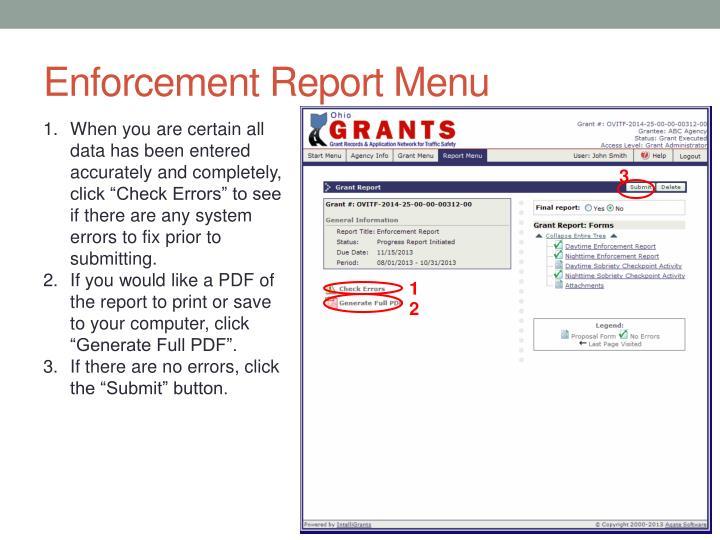 Enforcement Report Menu