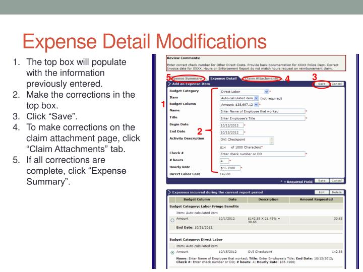 Expense Detail Modifications