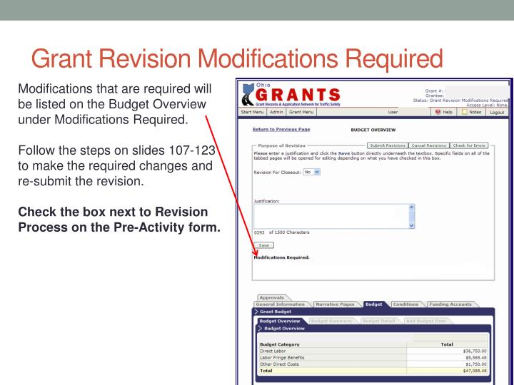Grant Revision Modifications Required