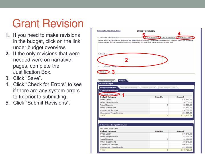 Grant Revision