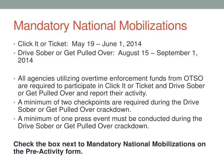 Mandatory National Mobilizations