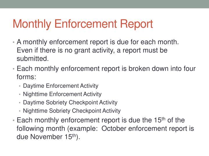 Monthly Enforcement Report