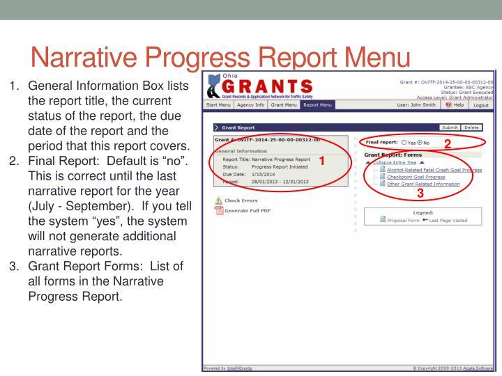 Narrative Progress Report Menu