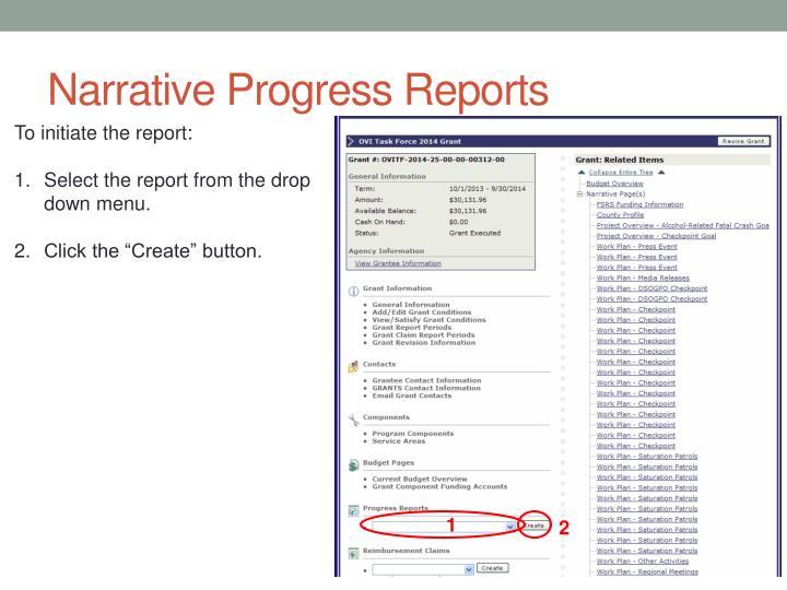 Narrative Progress Reports