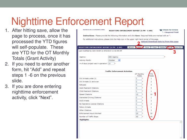 Nighttime Enforcement Report