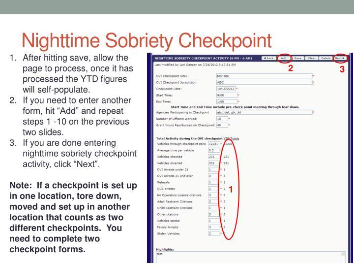 Nighttime Sobriety Checkpoint
