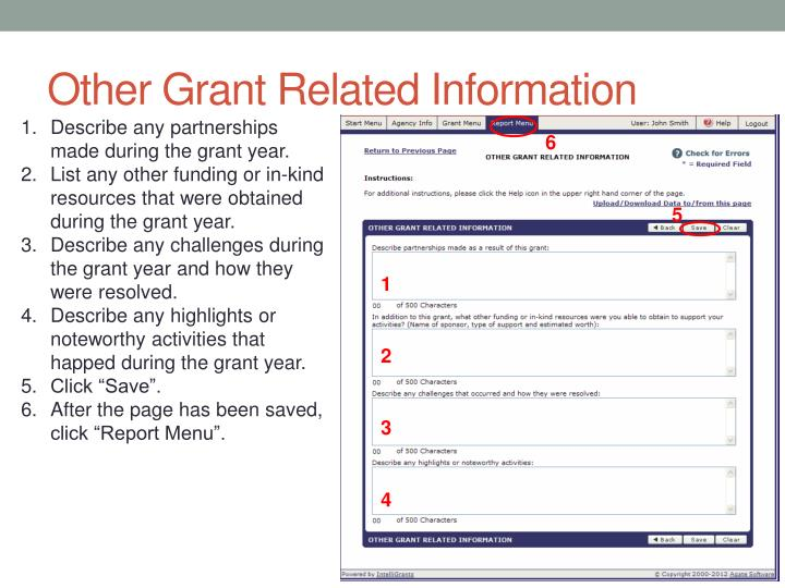 Other Grant Related Information