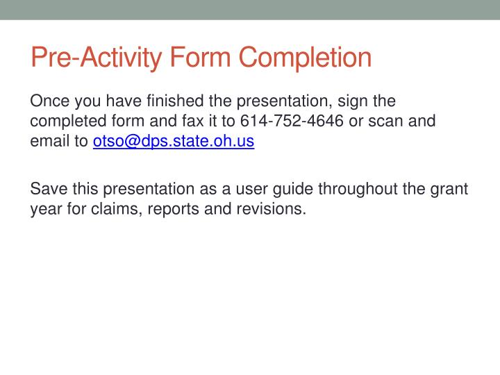 Pre-Activity Form Completion
