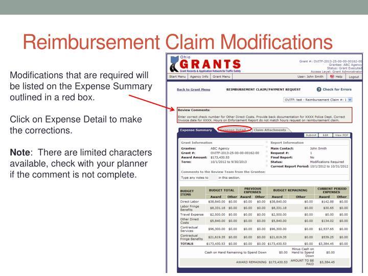 Reimbursement Claim Modifications