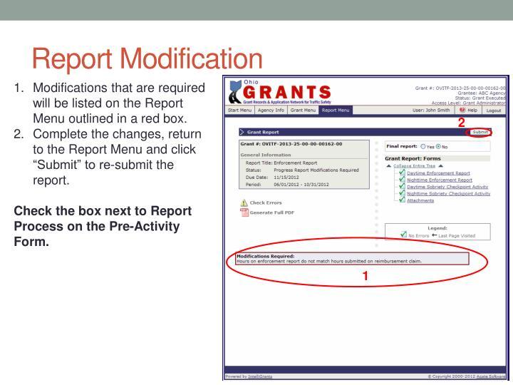 Report Modification