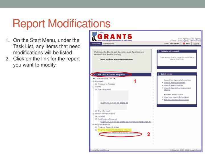 Report Modifications