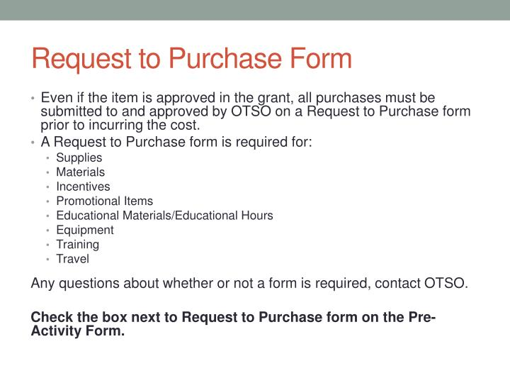 Request to Purchase Form