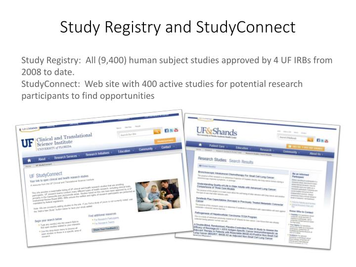 Study Registry and StudyConnect