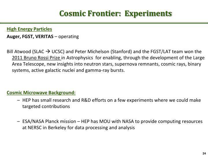 Cosmic Frontier:  Experiments