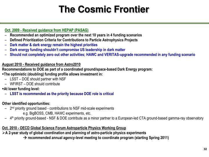 Cosmic Frontier -