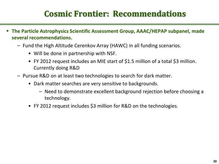 Cosmic Frontier:  Recommendations