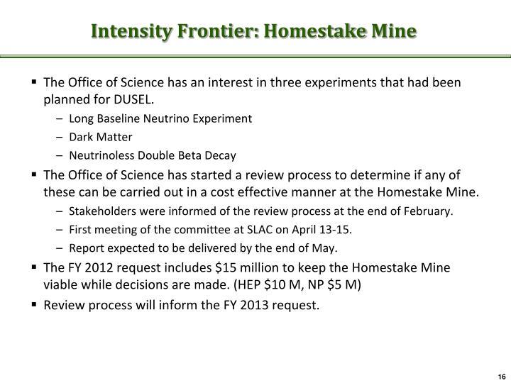 Intensity Frontier: