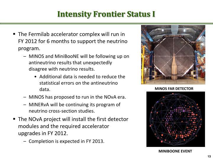 Intensity Frontier Status I