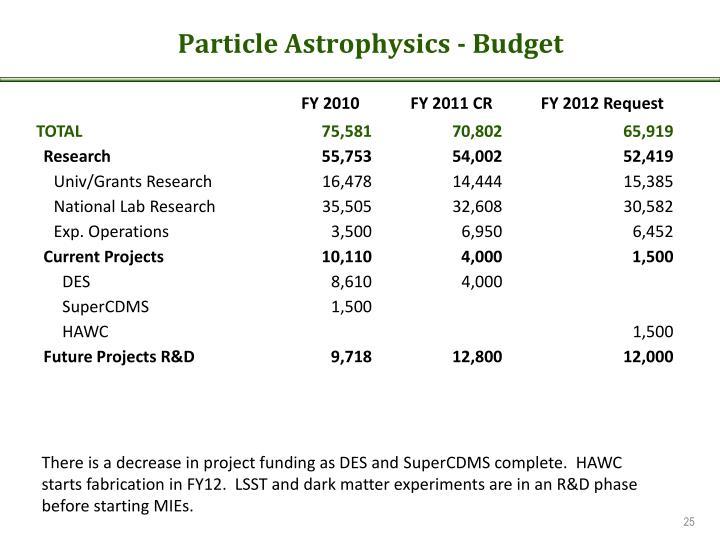 Particle Astrophysics - Budget