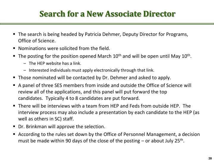 Search for a New Associate Director