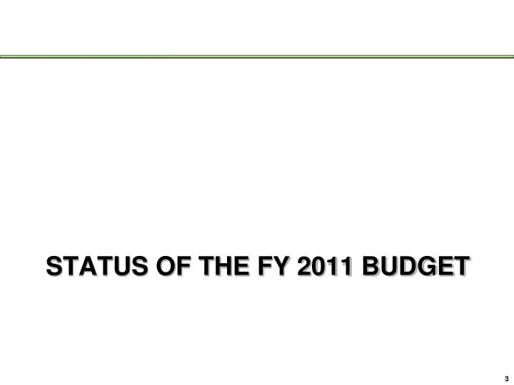 Status of the fy 2011 budget
